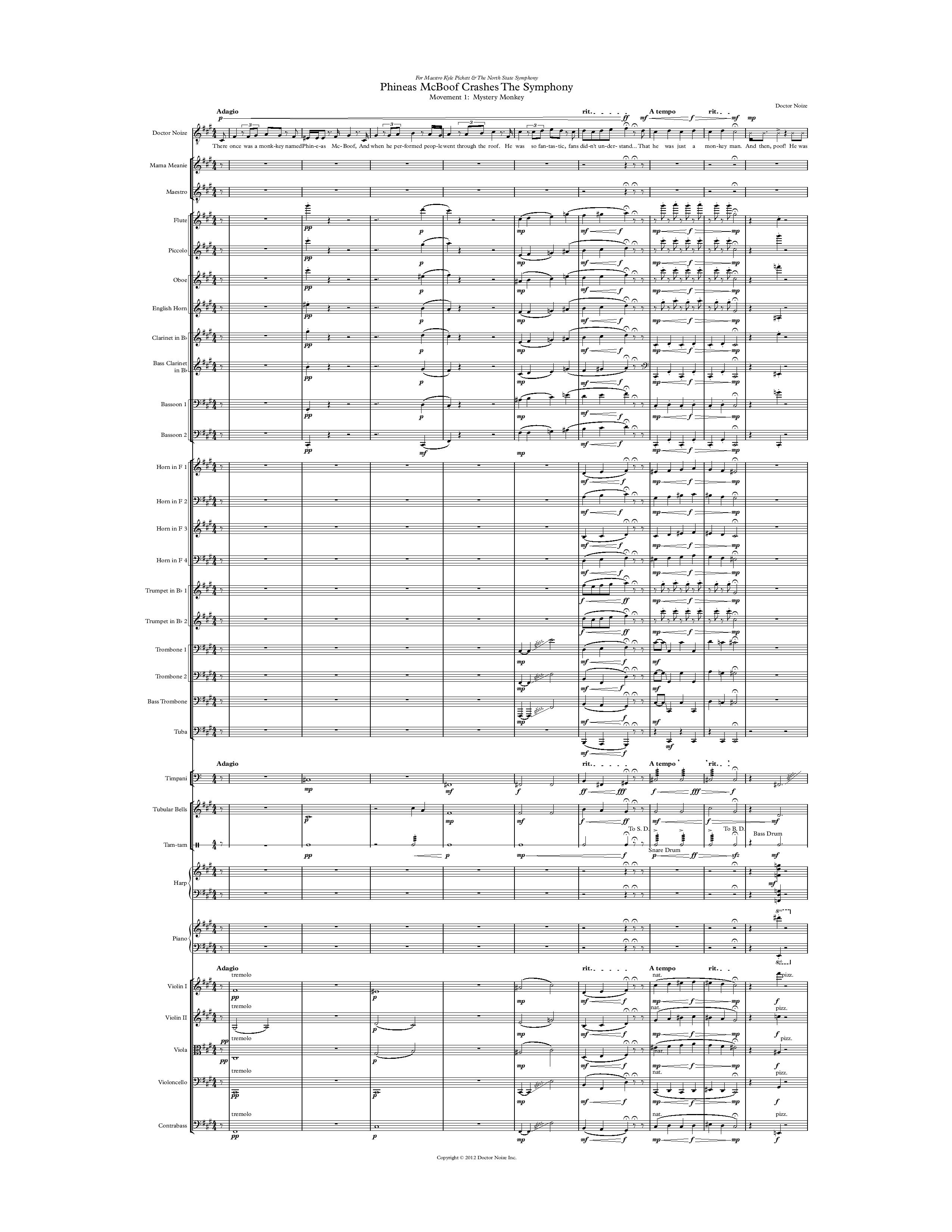 Phineas McBoof Crashes the Symphony Score